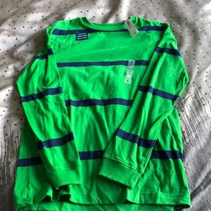 Long sleeved green and navy striped shirt